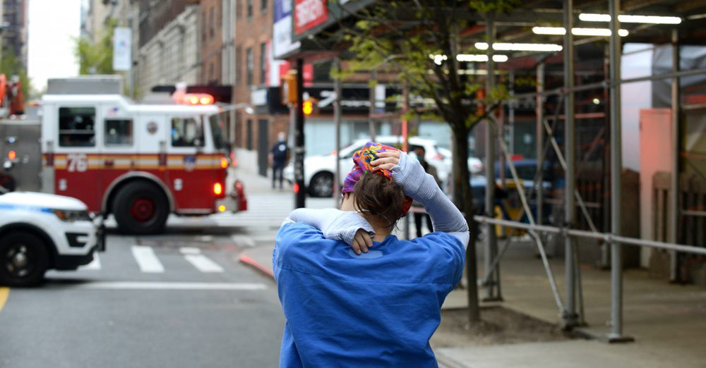 The mental health toll of the pandemic could rival that of the disease itself. A tired nurse leaves Mt. Sinai Morningside Hospital in New York City, April, 23 2020.B.A. VAN SISE/NURPHOTO/GETTY
