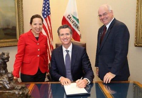 Mendonca (right) with Governor Gavin Newsom and Lt. Governor Eleni Kounalakis